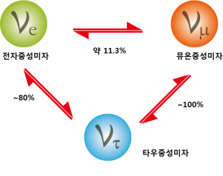 중성미자는 각각 3가지의 형태로 바뀐다. 변환 비율을 의미하는 변환상수를 정확히 알아내야 중성미자의 질량을 알아낼 수 있다. - (주)동아사이언스 제공